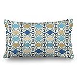 Agooda Custom Throw Pillow Covers Blue Gold Islamic Seamless Oriental Arabesque Textures Design Decor Pillowcases 20x36 Inches Rectangular Decorative Cushion Cases
