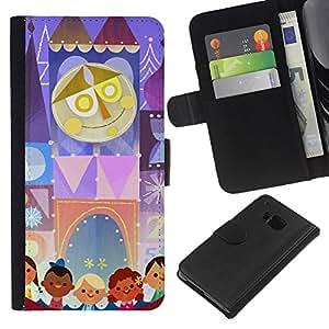 All Phone Most Case / Oferta Especial Cáscara Funda de cuero Monedero Cubierta de proteccion Caso / Wallet Case for HTC One M9 // Kids Mother Circus Drawing