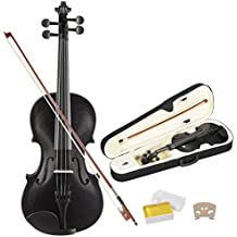 KUPPET Full Size 4/4 Acoustic Violin, Black Professional Handmade Violin with Hard Case, Bow, Rosin and String for Beginner Adult