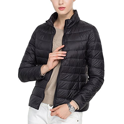 Laixing Buena Calidad Women's Packable Stand Collar Ultra Light Weight Short Down Jacket Women Coats Black