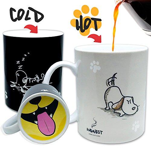 InGwest Home. Funny Coffee Mug with Friendly Dog and Tongue on bottom. Heat Sensitive Mug, Color Changing ()