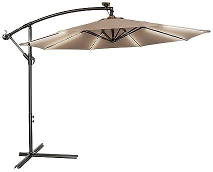 Trademark Innovations 9u0027 Deluxe Offset Patio Umbrella With Solar Strip  Lighting ...