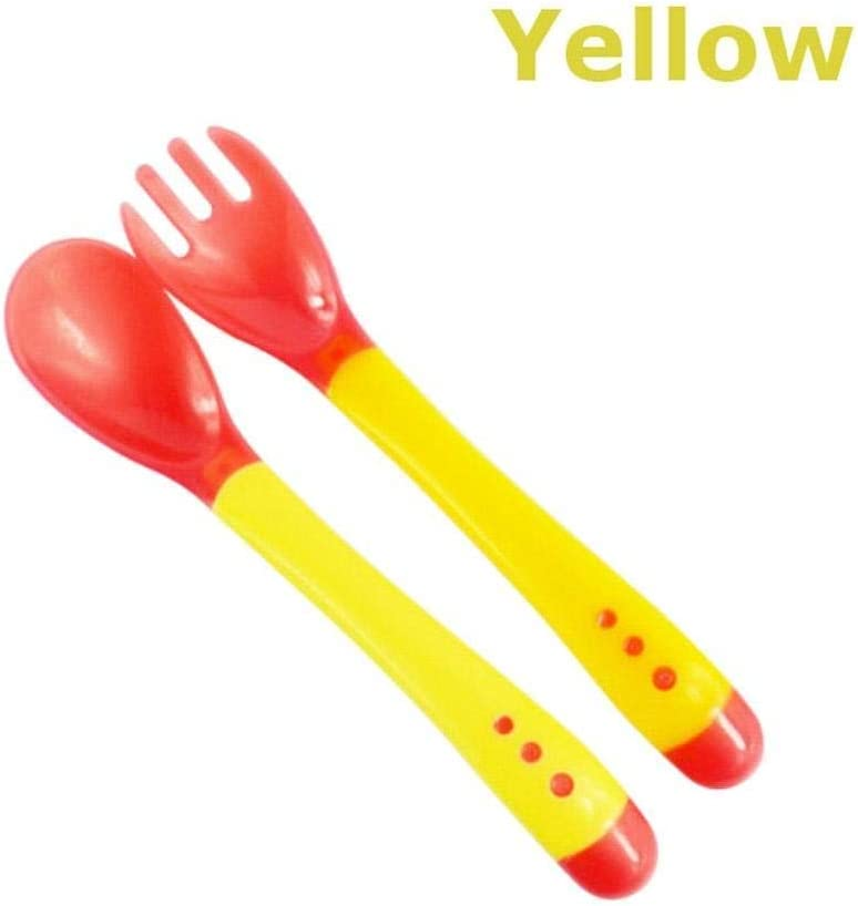 Temperature Sensing Heat Sensor Baby Spoon /& Fork Set Colour Changing Feeding Cutlery Set with Travel Case Yellow Set with Casing