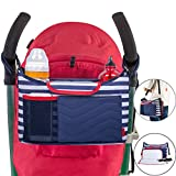 Image of SLC Portable Baby Stroller Organizer Bag with Cup Holders Removable Diaper Changing Pad and Extra Large Storage Space for Organize iPhones, iPads, Diapers, Toys, Bottle and other Baby Accessories