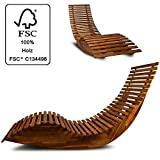 Wooden Sun Lounger - Garden Patio Deck Chair Curved Sauna Seat
