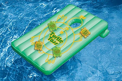 Cornhole water sports inflatable turtle toss for Swimming pool applewood swords