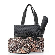 Handbag Inc Quilted Camouflage Diaper Bag Baby Changing Pad Cosmetic Bag Black Trim