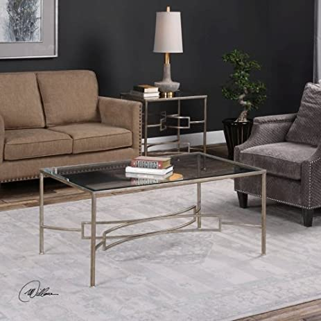 Uttermost Eilinora Antiqued Silver Leaf Coffee Table