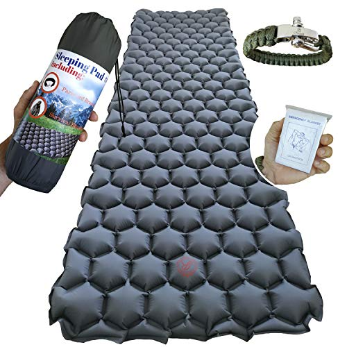 Deluxe Self Inflating Camping Mattress - Ultralight Backpacking Air Sleeping Pad - Inflatable Sleeping Mat for Camping, Traveling and Hiking - Lightweight, Compact and Comfortable Air Cells Design