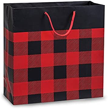 Buffalo Plaid Matte Design Filly Size 12x5x12 Shopping Gift Laminated Paper Bag Package Amount 10