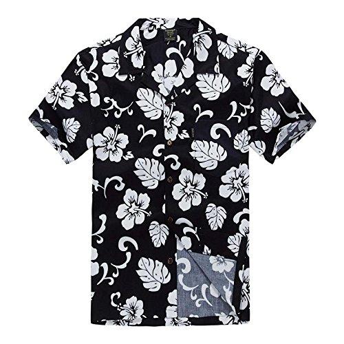 Men's Hawaiian Shirt Aloha Shirt 2XL Navy Hibiscus (Cotton Mens Aloha Shirt)