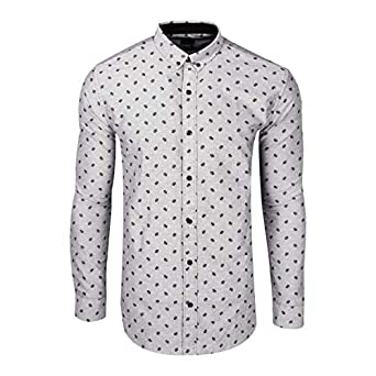 b5f47621c7 Zara man Shirts Men's Cotton Printed Shirt (Grey Multi Shade, Small)