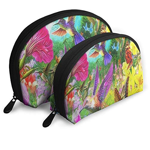 Makeup Bag Hummingbird Flower Floral Butterfly Portable Half Moon Clutch Pouch Bags Organizer For ()