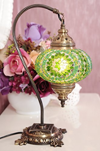 New BOSPHORUS Stunning Handmade Swan Neck Turkish Moroccan Mosaic Glass Table Desk Bedside Lamp Light with Bronze Base (Green) - Antique Green Table Lamp