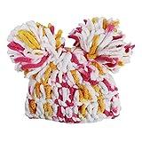 Little Girls Multicolor Plush Pom Pom Beanie Hat 2-4 Years