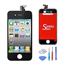 SANKA LCD Display Touch Screen Digitizer Frame Assembly Full Set Screen Replacement for iPhone 4 GSM-Black