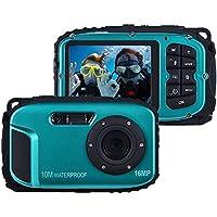 16MP 2.7 LCD Waterproof Digital Video Camera Mini Camcorder DV Underwater Max 10M Diving 8X Digital Zooming Face Detection - Blue