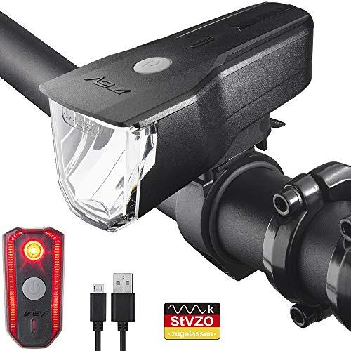 BV LED Fahrradlicht Set, StVZO Zugelassen LED Fahrradbeleuchtung Frontlicht und Rücklicht Set, 3 Licht-Modi USB Aufladbare Fahrradlichter, IP44 Wasserdicht LED Fahrradlampe