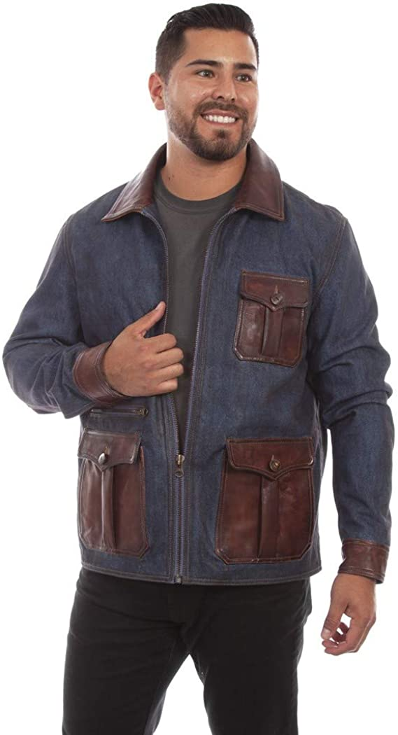 Men's Vintage Workwear Inspired Clothing Scully Western Jacket Mens Jean Leather Pocket Zip Denim F0_1068 $287.43 AT vintagedancer.com