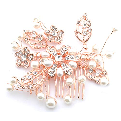 Topwholesalejewel Fashion Hair Accessory Rose Gold Plating Faux Pearl Flower Hair Comb