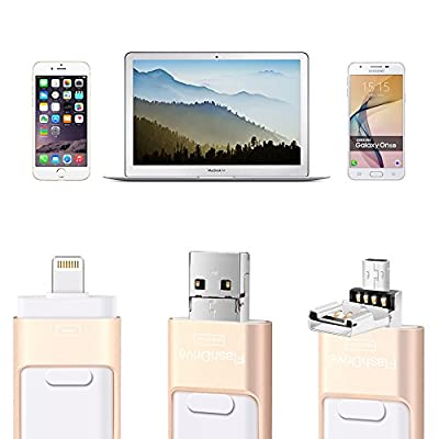 USB Flash Drive 128GB, Sunany Memory Stick External Storage Compatible iPhone/PC/iPad/Android More Devices USB Port (128GB Gold)