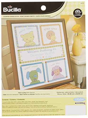 Bucilla Counted Cross Stitch Birth Record Kit, 10 by 13-Inch, 46019 Here a (Simply Stitched Embroidery Kit)