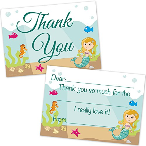 Mermaid Kids Fill in Thank You Cards for Girls (20 Count with Envelopes) - Mermaid Thank You Notes for Kids