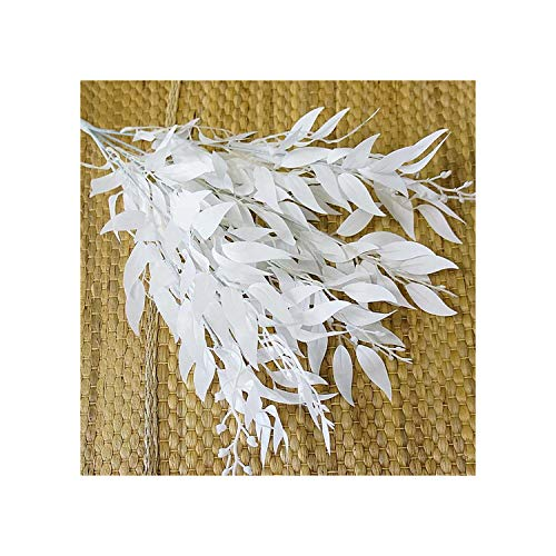 (Holiday-Online-Store Artificial Leaves Bouquet Fake Willow Jungle Wedding Backdrop Decoration Christmas Faux Foliage Vine Party Home Decor Plant Xmas,White)
