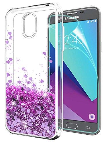 Samsung Galaxy J3 2018 Case with HD Screen Protector,J3 Eclipse 2/J3 Orbit/J3 Achieve/j3 Express Prime 3/J3 Prime 2/Amp Prime 3/j3 emerge 2018 Case, SunStory Moving Shiny Quicksand Glitter(Purple)