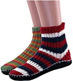 Womens Warm Slipper Socks Knitted Booties with Grippers 2-pack By DEBRA WEITZNER