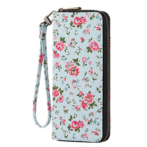 (HAWEE Women's Clutch Wallet Canvas Zippered Purse with Wristlet Floral, Pink Floral)
