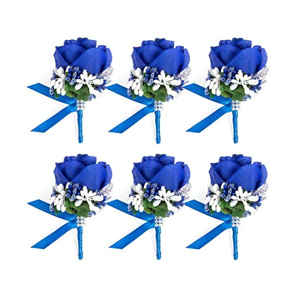 JaosWish 4/6/8PCS Flower Men Boutonniere Handmade Silk Men Corsage for Groom Wedding Party Suits (Royal Blue)