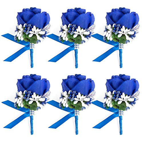 (JaosWish 4/6/8PCS Flower Men Boutonniere Handmade Silk Men Corsage for Groom Wedding Party Suits (Royal Blue))