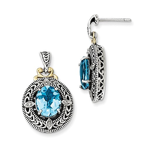 Sterling Silver w/14k Diamond & Blue Topaz Earrings by CoutureJewelers