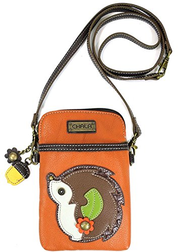 Chala Crossbody Cell Phone Purse - Women PU Leather Multicolor Handbag with Adjustable Strap - Hedgehog - Orange