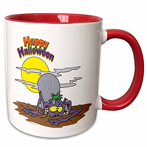 3dRose Dooni Designs Random Toons - Happy Halloween Ghoul Rising from Grave - 15oz Two-Tone Red Mug -