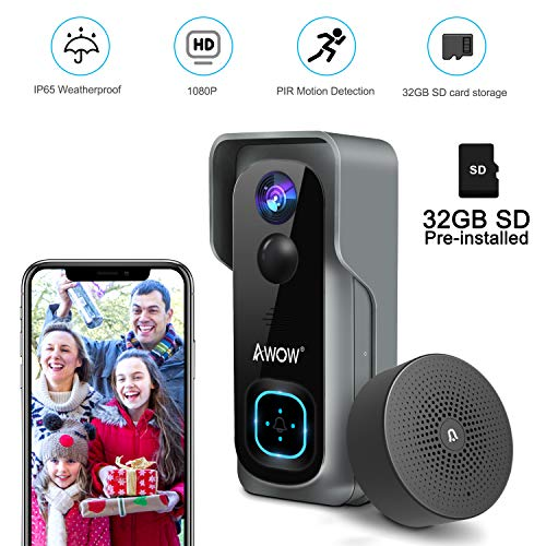 Doorbell Camera Video Doorbell Waterproof/1080P HD/32GB Micro SD Card/Night Vision/Two-Way Audio/160°Wide Angel/PIR Motion Detection for iOS & Android AWOW J1