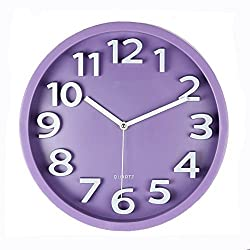Harryup Large Number Wall Clock,12 Silent Non-Ticking Quartz Decorative Wall Clock, Kids Wall Clock - Modern Style Good for Living Room/Home/Office Battery Operated (Purple)