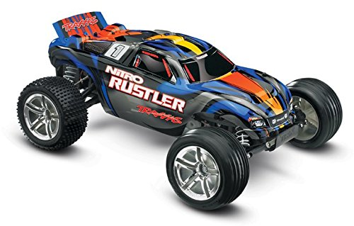 (Traxxas Nitro Rustler: 2WD Stadium Truck with TQi 2.4 GHz Radio & TSM (1/10 Scale), Silver/Blue)