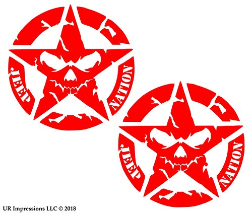 UR Impressions Red 2pk Jp Nation Star Skull Face Decal Vinyl Sticker Graphics for Jeep Wrangler 4x4 Unlimited Sahara Rubicon Moab Overland Arctic SUV Walls Windows Laptop|RED|5.5 inch|URI728-R