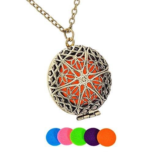 Round Flower Locket - HooAMI Aromatherapy Essential Oil Diffuser Necklace Flower Round Locket Pendant,Bronze