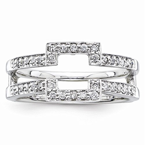 14k White Gold Polished Prong set Diamond Ring Guard