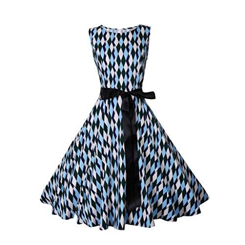 Kimodo Femmes Impression Licol Sans Manches Millésime Robe De Bal Moulante De Soirée Bleu