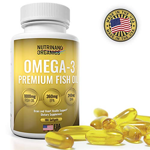 Omega-3 Fish Oil 1000mg - 180 Softgels EPA 360mg + DHA 240mg - Enriched Fish Oil - Promotes Healthy Heart, Immune System, Eyes, Skin & Brain Function - Made in -