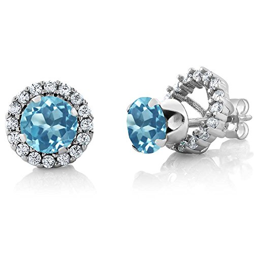 Gem Stone King 2.00 Ct Round 6mm Swiss Blue Topaz 925 Silver Removable Jacket Stud Earrings