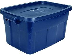 Rubbermaid Roughneck 14 Gal Pack of 6 Roughneck Totes Durable, Reusable, Set of Plastic Storage Bins, Dark Indigo Metallic