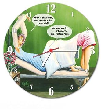 lustige wanduhr karikatur krankenschwester: amazon.de: küche ... - Wanduhr Für Küche