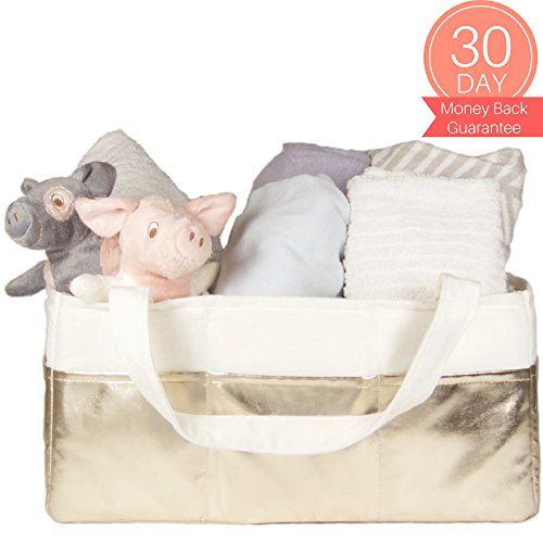 Diaper Caddy Organizer Extra Large - Diaper Storage Bin | Nursery Storage Baskets | Diaper Organizer | Baby Shower Gift Basket White & Gold | 100% Cotton Canvas & Gold Leatherette