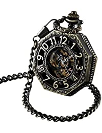 Skeleton Pocket Watch with Chain Bronze Octagon Case Steampunk Railroad Style Mechanical Movement Hand Wind Up