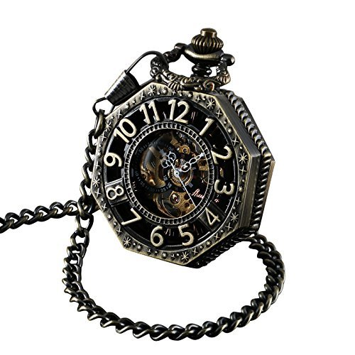 ShoppeWatch Pocket Watch with Chain Bronze Octagon Case Steampunk Railroad Style Mechanical Movement Reloj Skeleton PW-221